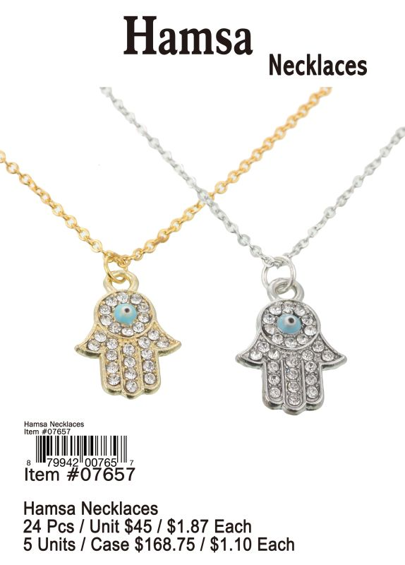 Hamsa Necklaces - 24 Pieces Unit