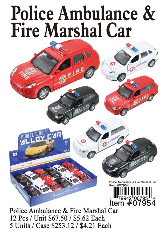 Police Ambulance&Fire Marshal Car - 12 Pieces Unit