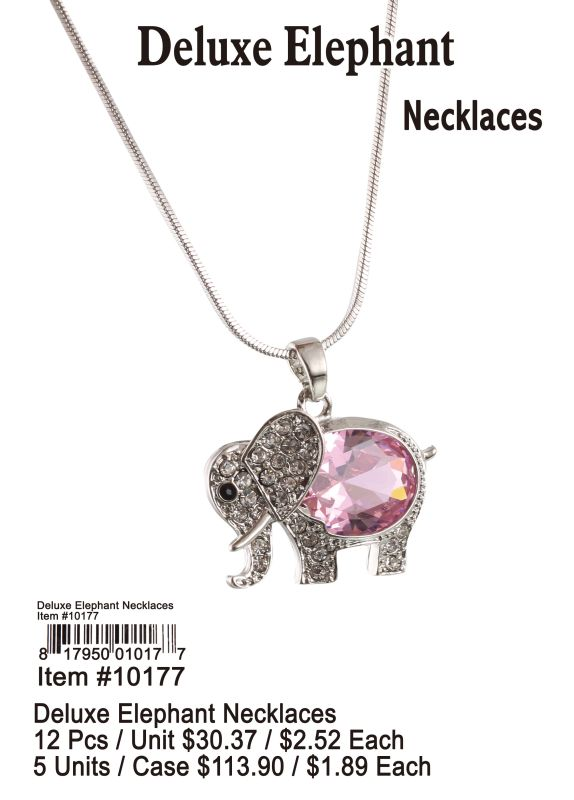 Deluxe Elephant Necklaces - 12 Pieces Unit