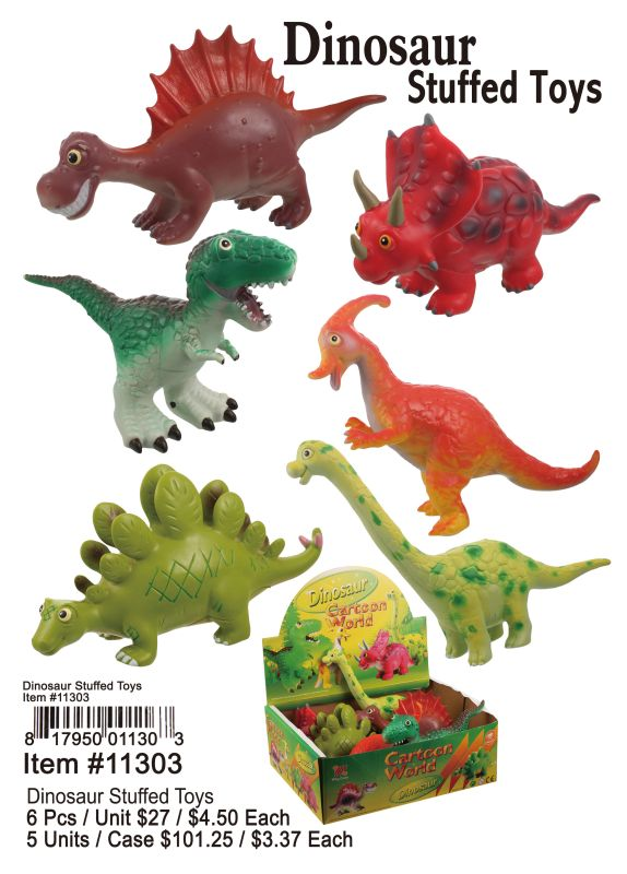 Dinosaur Stuffed Toys - 6 Pieces Unit
