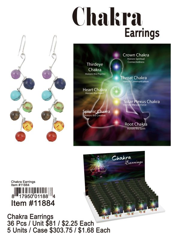 Chakra Earrings - 36 Pieces Unit