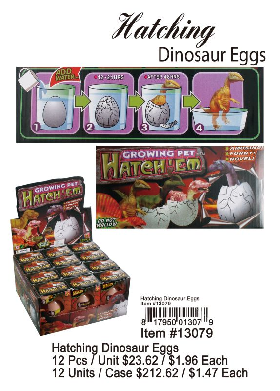 Hatching Dinosaur Eggs - 12 Pieces Unit
