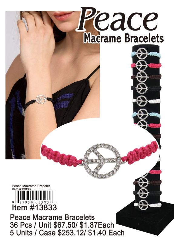 Peace Macrame Bracelets - 36 Pieces Unit