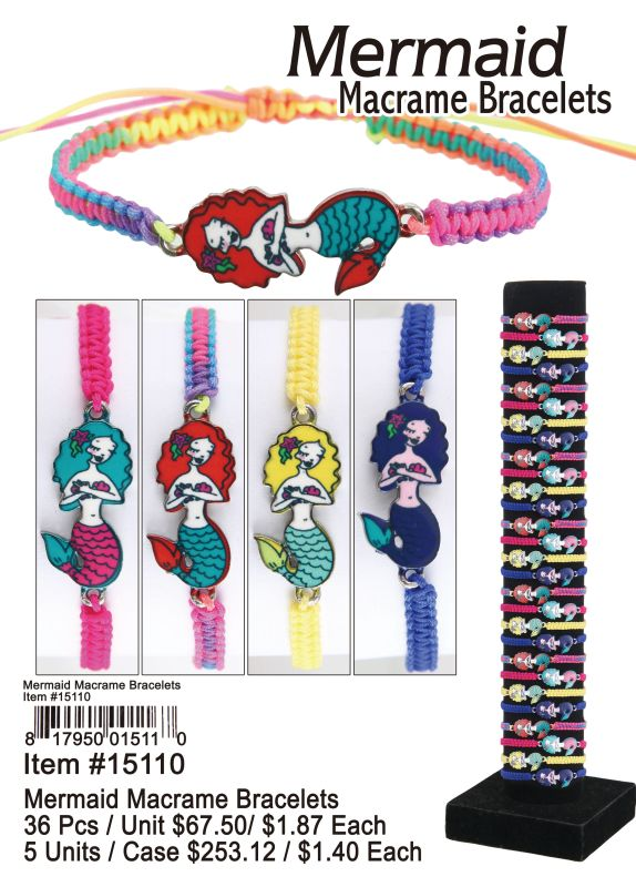 Mermaid Macrame Bracelets - 36 Pieces Unit