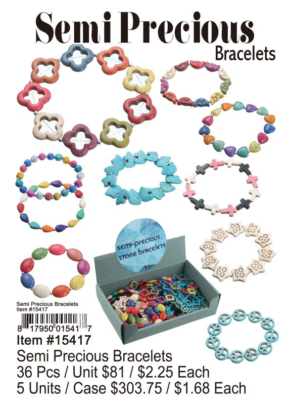 Semi Precious Bracelets - 36 Pieces Unit