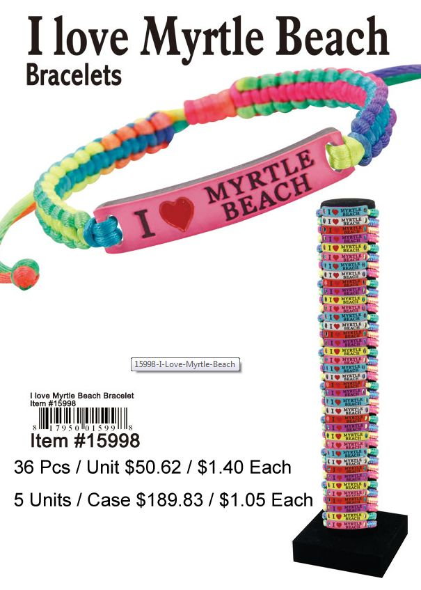 I Love Myrtle Beach Bracelets - 36 Pieces Unit