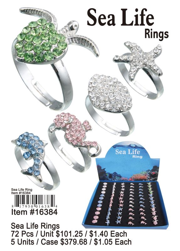 Sea Life Rings - 72 Pieces Unit