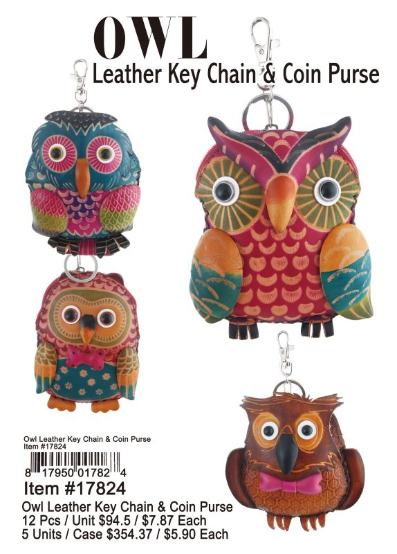Owl Leather Key Chain &Coin Purse - 12 Pieces Unit