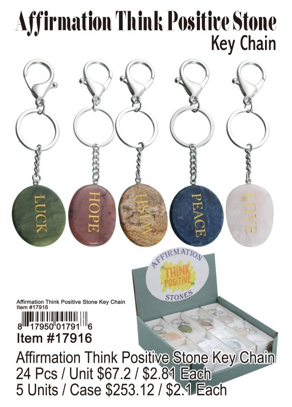 Affirmating Think Positive Stone Key Chain - 24 Pieces Unit