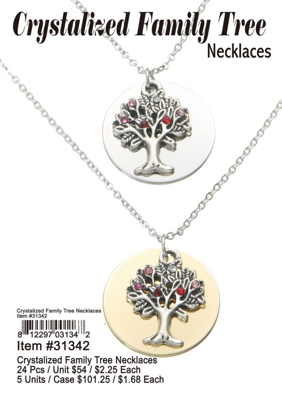 Crystalized Family Tree Necklaces Wholesale
