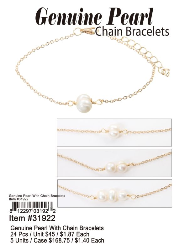 Genuine Pearl With Chain Bracelets Wholesale