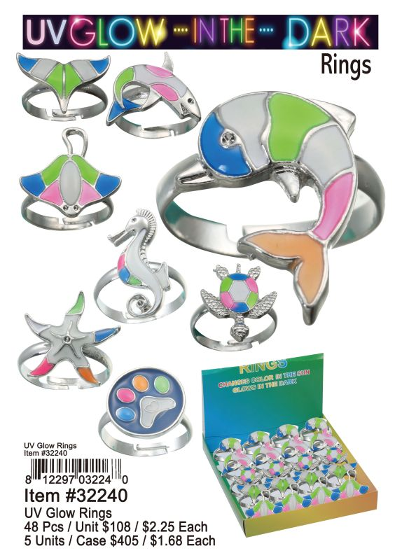 Uv Glow Rings - 48 Pieces Unit