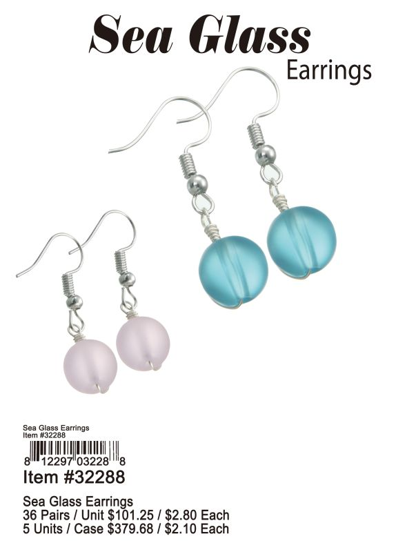 Sea Glass Earrings - 36 Pieces Unit