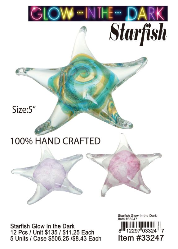 Starfish Glow In The Dark - 12 Pieces Unit