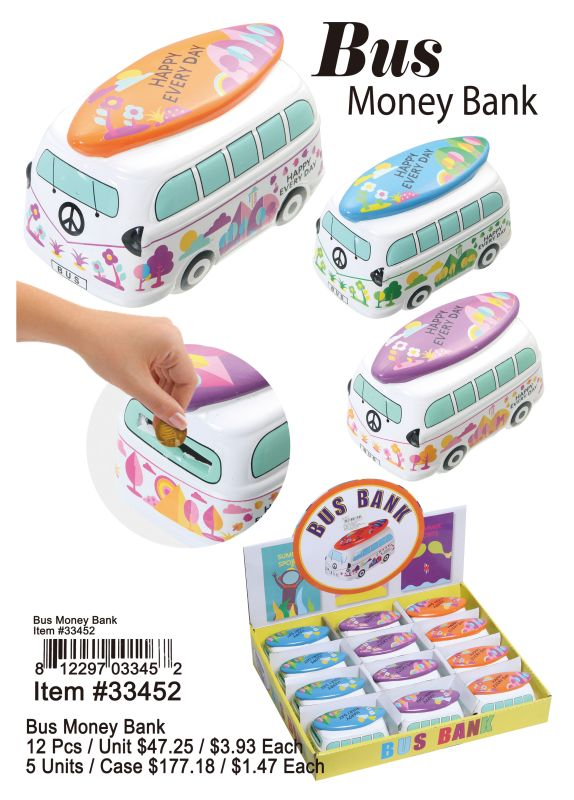 Bus Money Bank - 12 Pieces Unit
