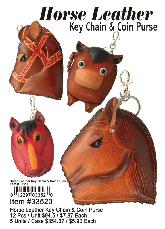 Horse Leather Key Chain & Coin Purse - 12 Pieces Unit