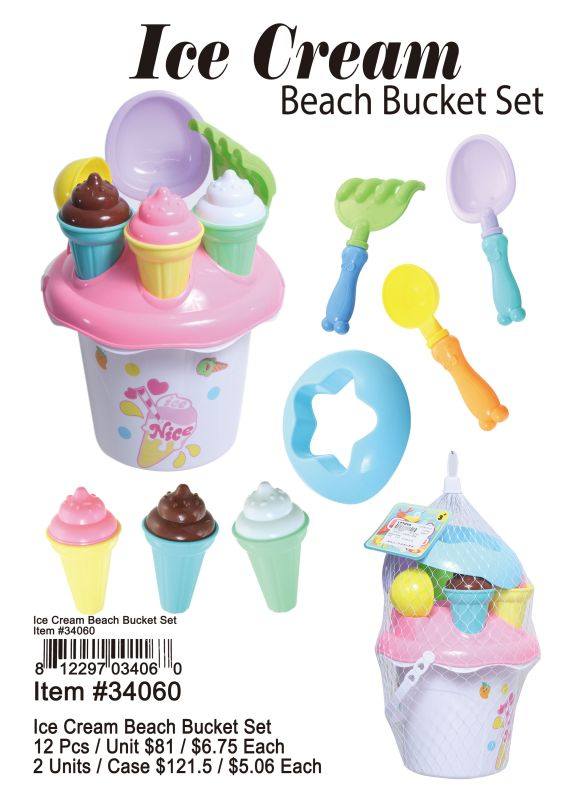 Ice Cream Beach Bucket Set - 12 Pieces Unit