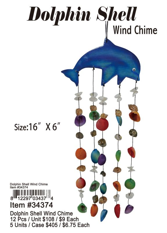 Dolphin Shell Wind Chime - 12 Pieces Unit