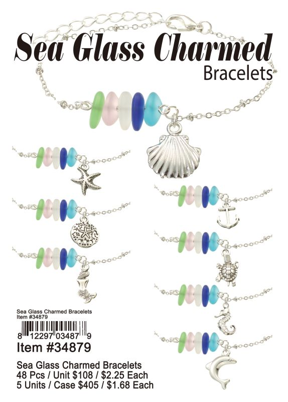 Sea Glass Charmed Bracelets - 48 Pieces Unit