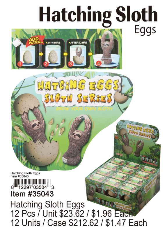Hatching Sloth Eggs - 12 Pieces Unit