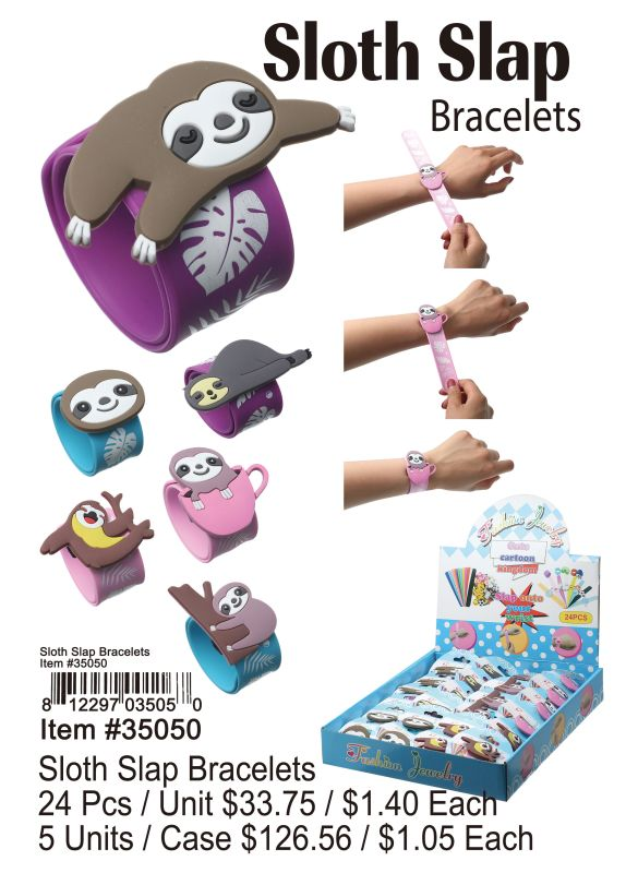 Sloth Slap Bracelets - 24 Pieces Unit