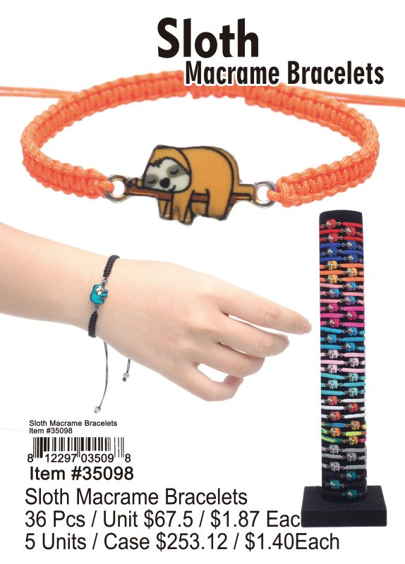 Sloth Macrame Bracelets - 36 Pieces Unit
