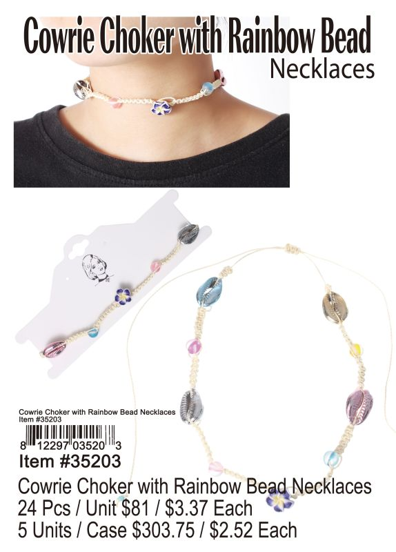 Cowrie Choker With Rainbow Bead Necklace - 24 Pieces Unit