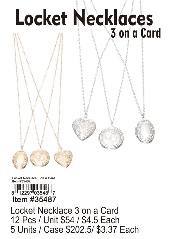 Locket Necklaces 3 On A Card - 12 Pieces Unit