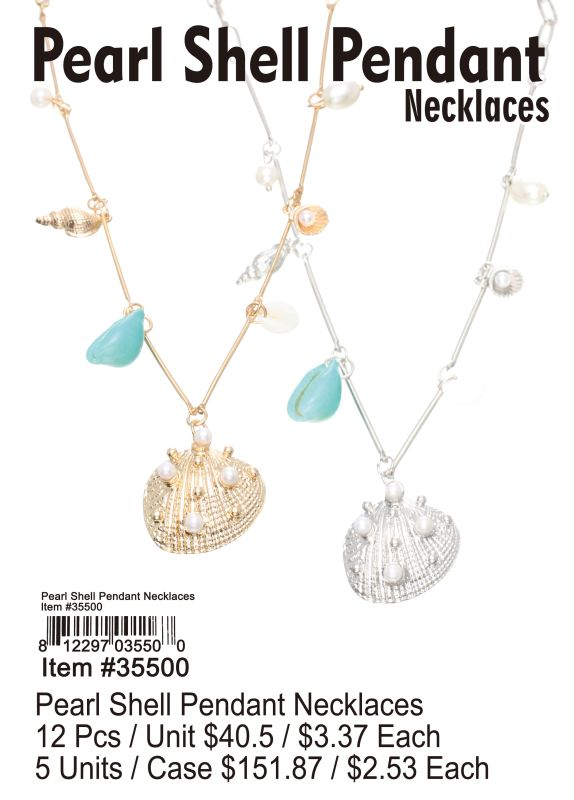 Pearl Shell Pendant Necklace - 12 Pieces Unit