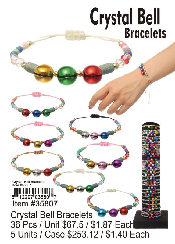 Crystal Bell Bracelets - 36 Pieces Unit