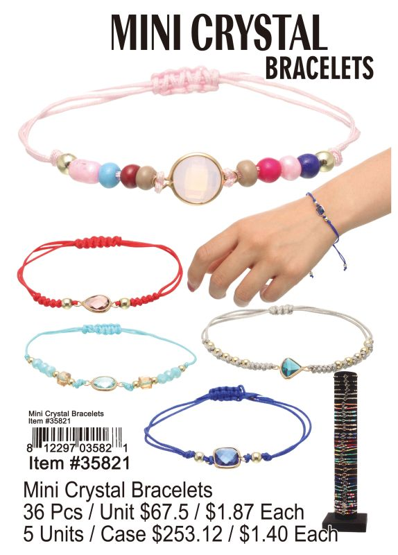 Mini Crystal Bracelets - 36 Pieces Unit