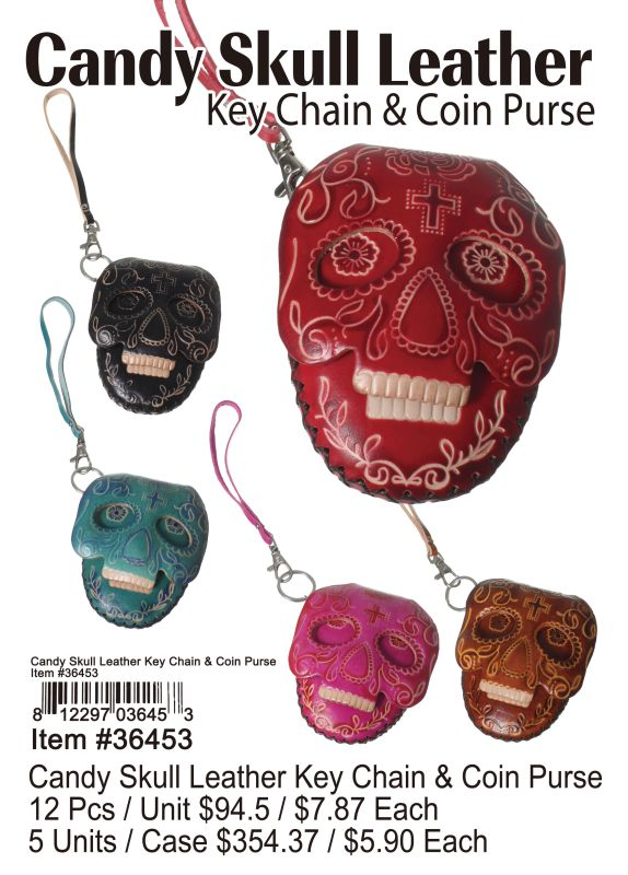 Candy Skull Leather Key Chain &Cion Purse - 12 Pieces Unit