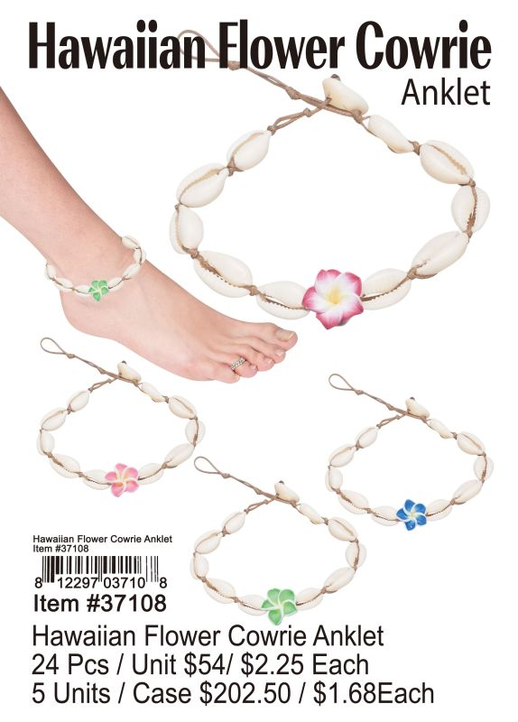 Hawaiian Flower Cowrie Anklet - 24 Pieces Unit