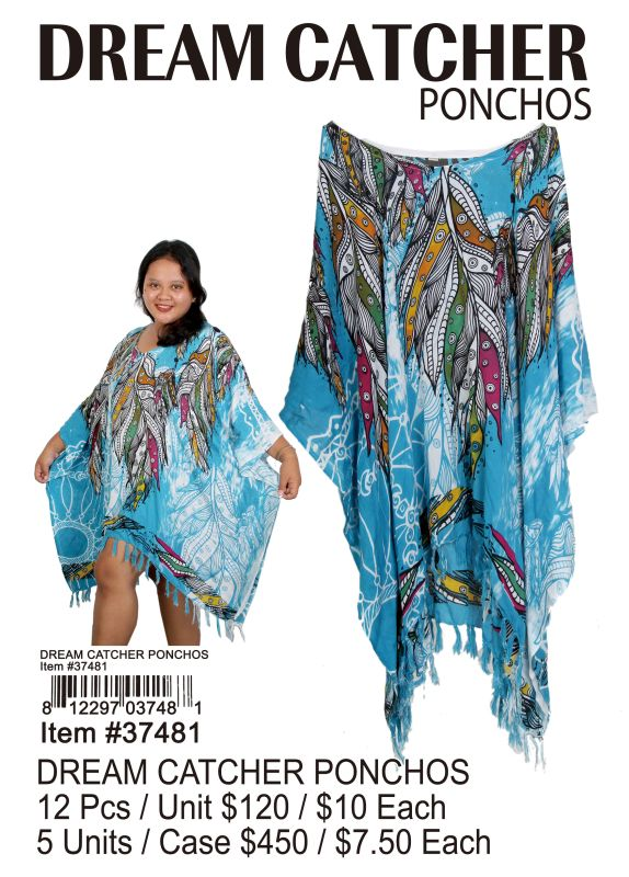 Dream Catcher Ponchos - 12 Pieces Unit