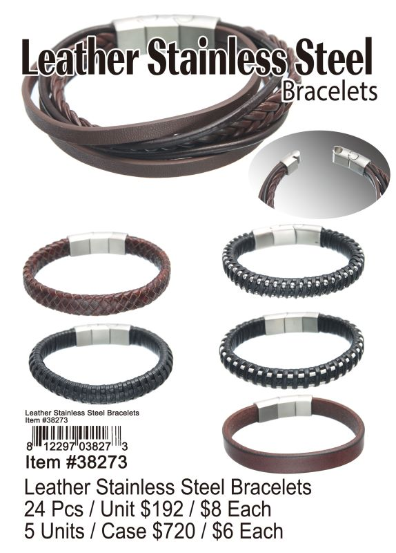 Leather Stainless Steel Bracelets - 24 Pieces Unit