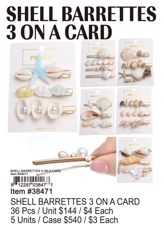 Shell Barrettes 3 On A Card - 36 Pieces Unit