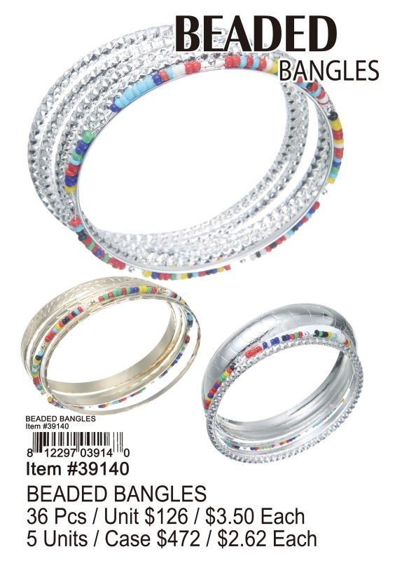 Beaded Bangles - 36 Pieces Unit
