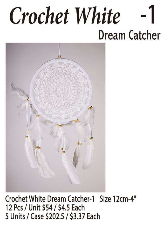 Crochet White-1 Dream Catcher - 12 Pieces Unit