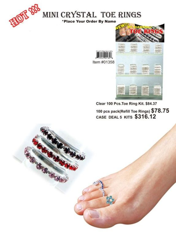 Mini Crystal Toe Rings(Clear) - 100 Pieces Unit