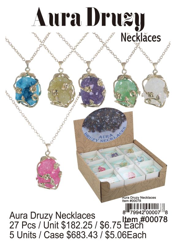 Aura Druzy Necklaces - 27 Pieces Unit