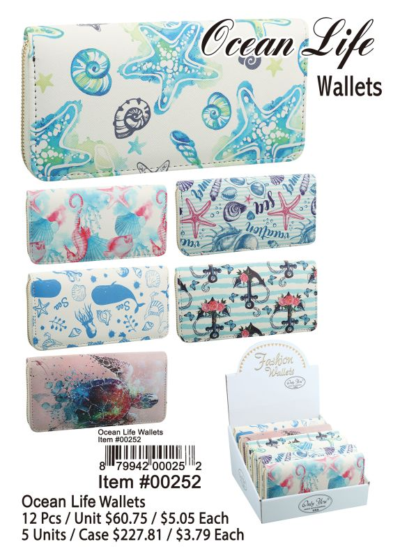 Ocean Life Wallets - 12 Pieces Unit