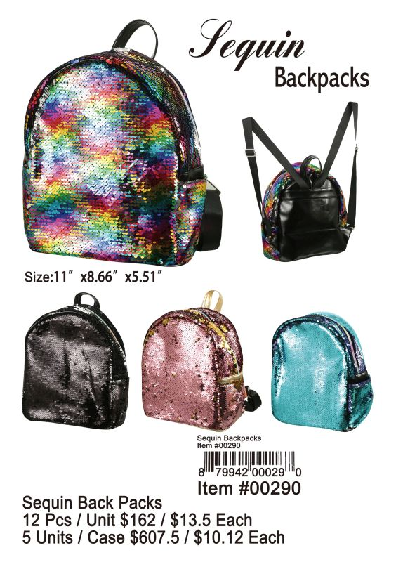 Sequin Back Pack - 12 Pieces Unit