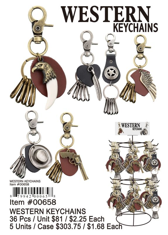 Western Key Chain - 36 Pieces Unit