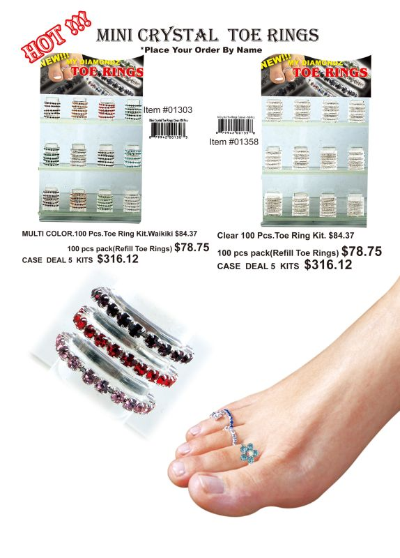 Mini Crystal Toe Rings(Multi Color) - 100 Pieces Unit