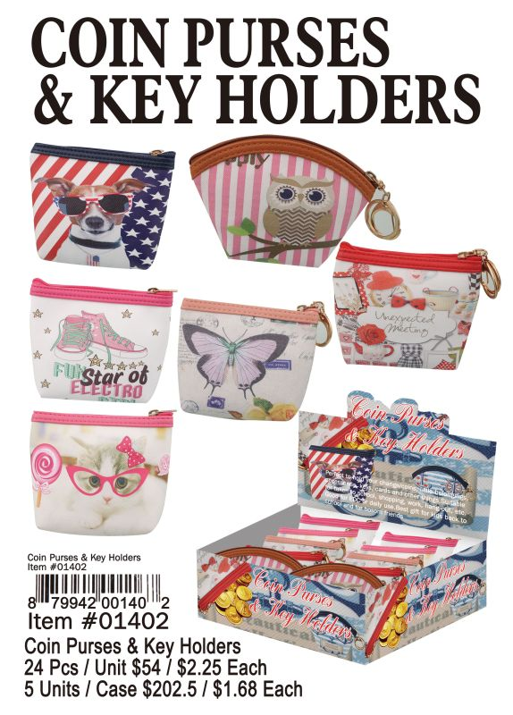 Coin Purses & Key Holders - 24 Pieces Unit