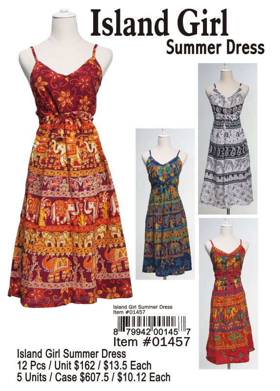Island Girl Summer Dress - 12 Pieces Unit