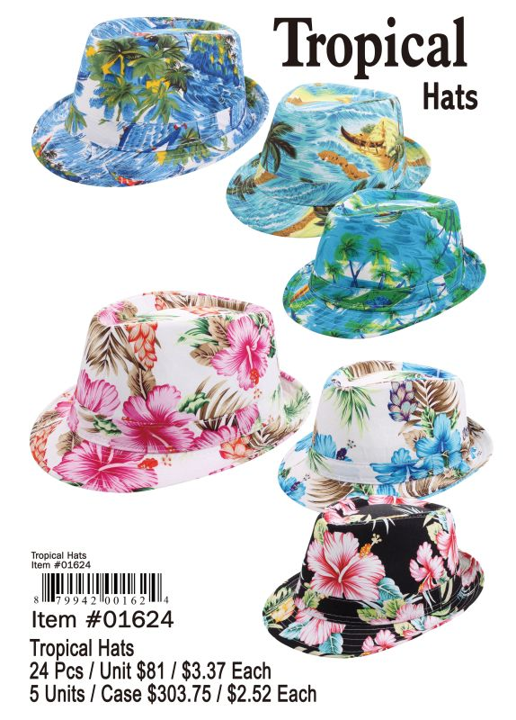 Tropical Hats - 24 Pieces Unit