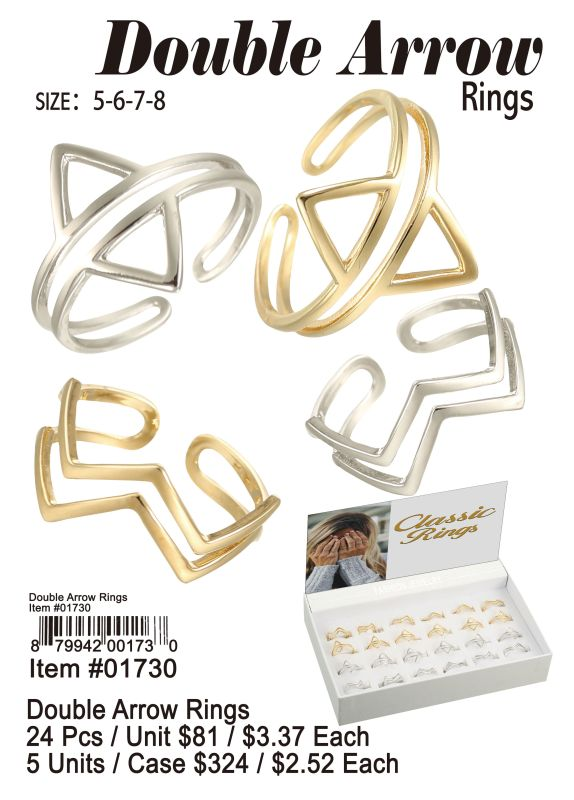 Double Arrow Rings - 24 Pieces Unit