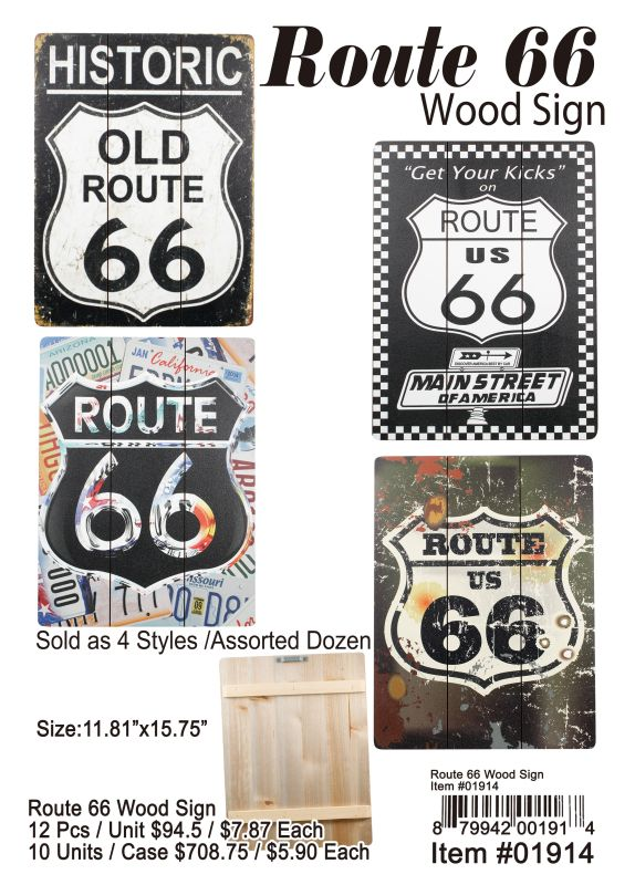 Route 66 Wood Sign - 12 Pieces Unit