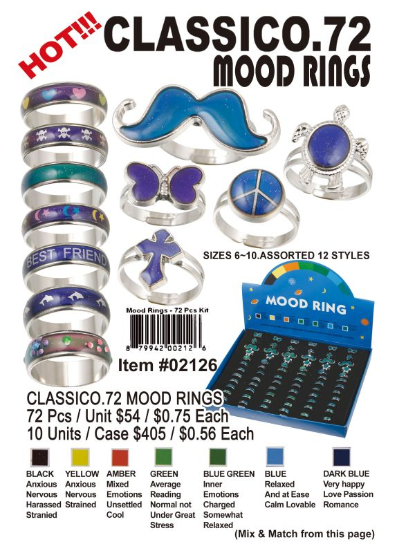 Classico.72 Mood Rings - 72 Pieces Unit